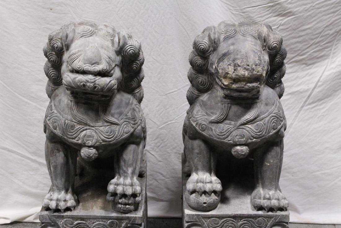 Pair Chinese vintage stone carved fulion - 2