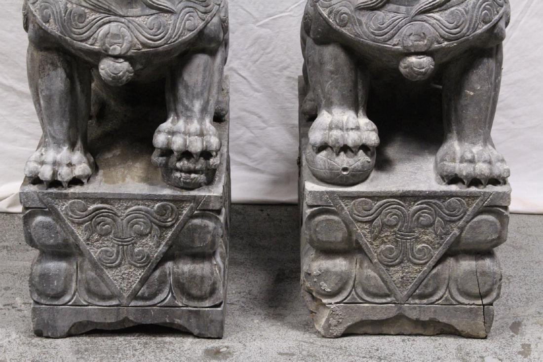 Pair Chinese vintage stone carved fulion - 3