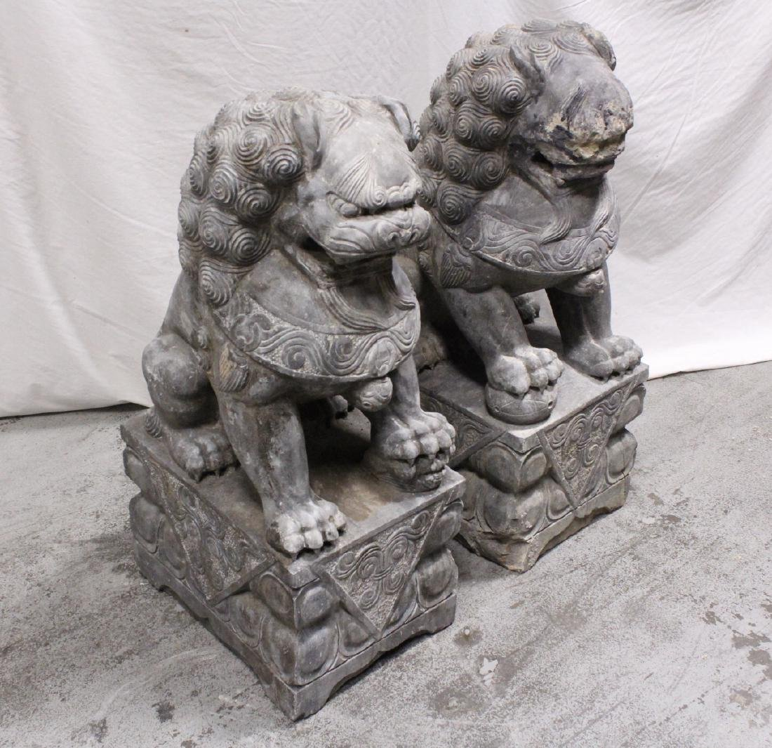 Pair Chinese vintage stone carved fulion - 4