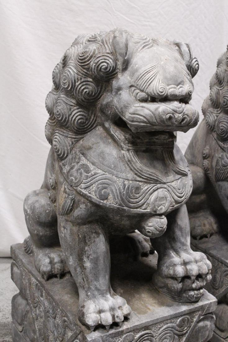 Pair Chinese vintage stone carved fulion - 5