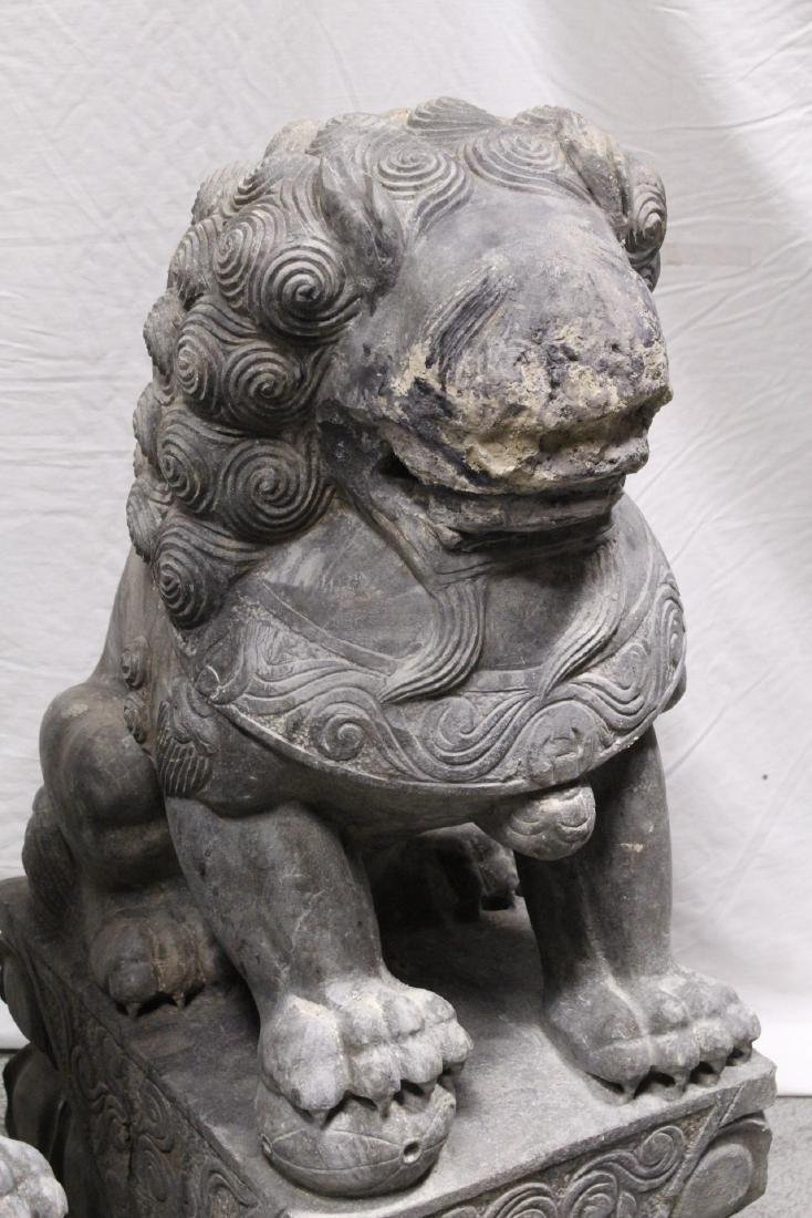 Pair Chinese vintage stone carved fulion - 6
