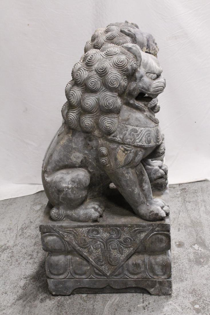 Pair Chinese vintage stone carved fulion - 7