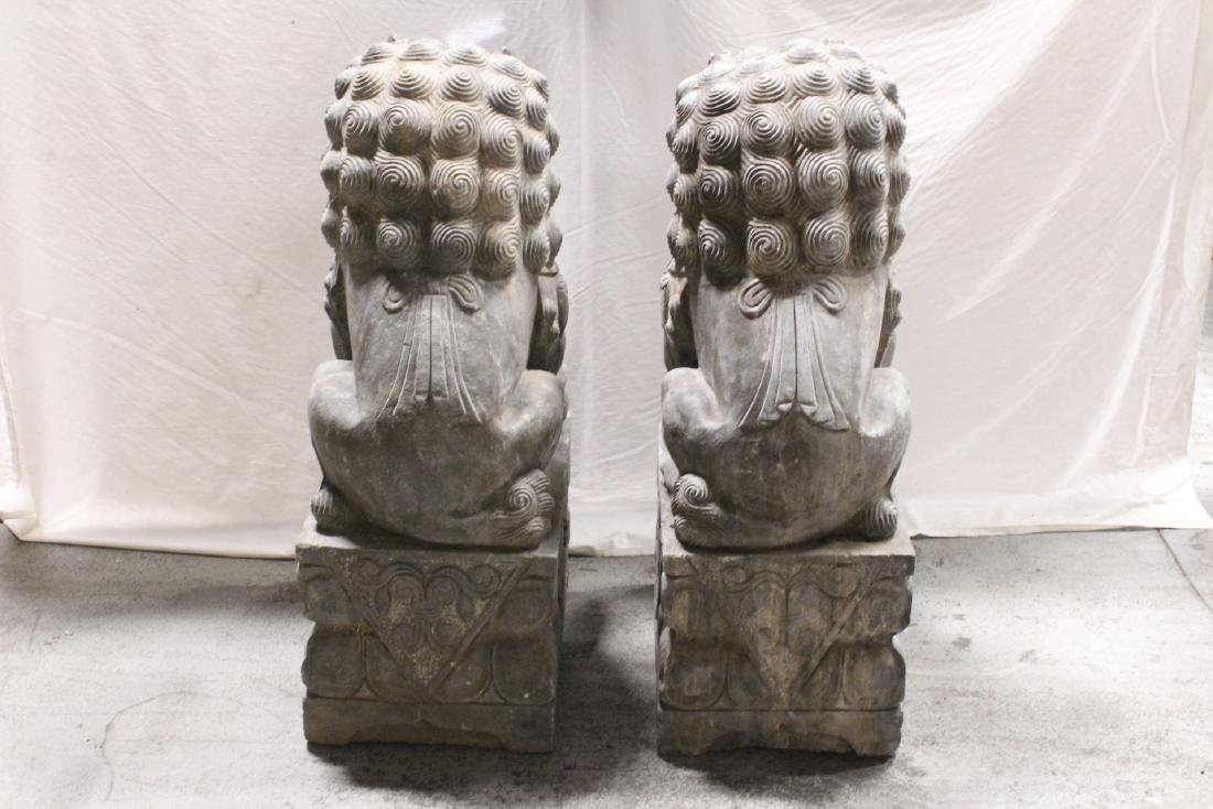 Pair Chinese vintage stone carved fulion - 9