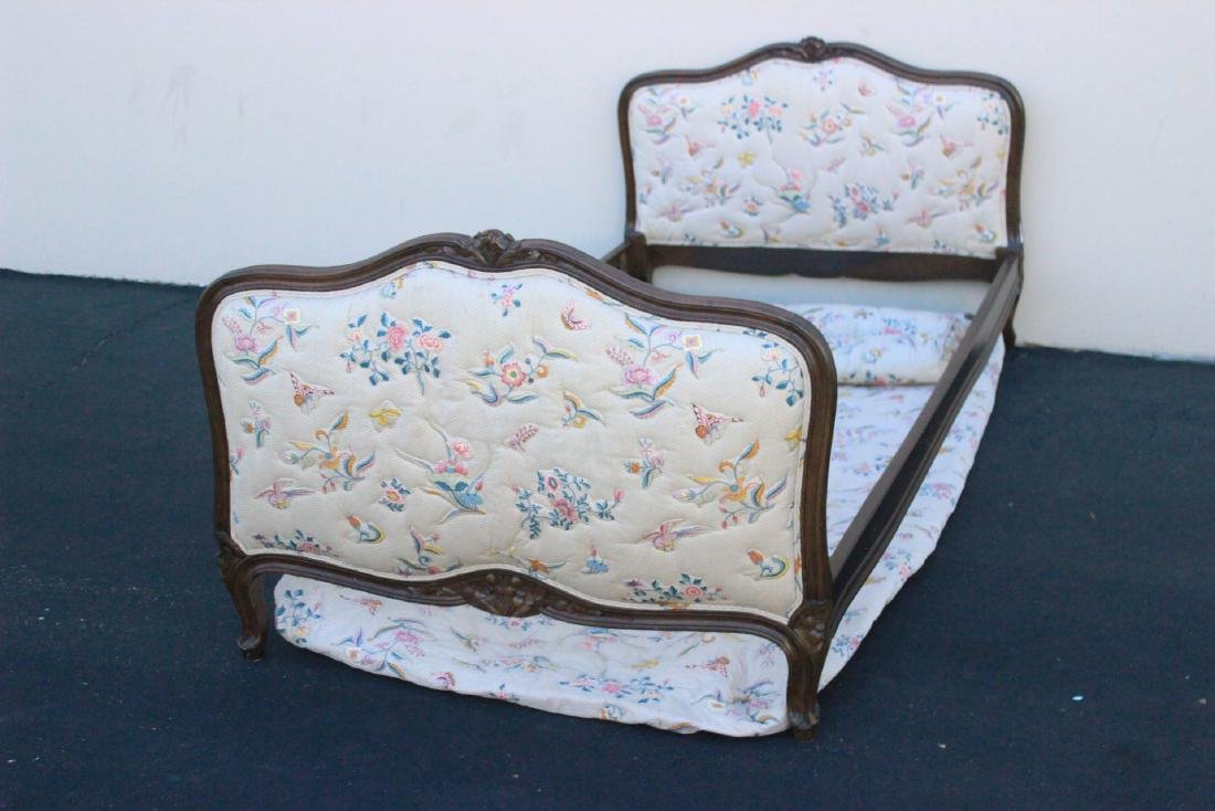 Antique French provincial walnut twin bed frame