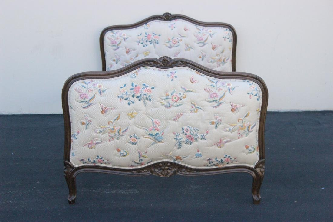 Antique French provincial walnut twin bed frame - 2