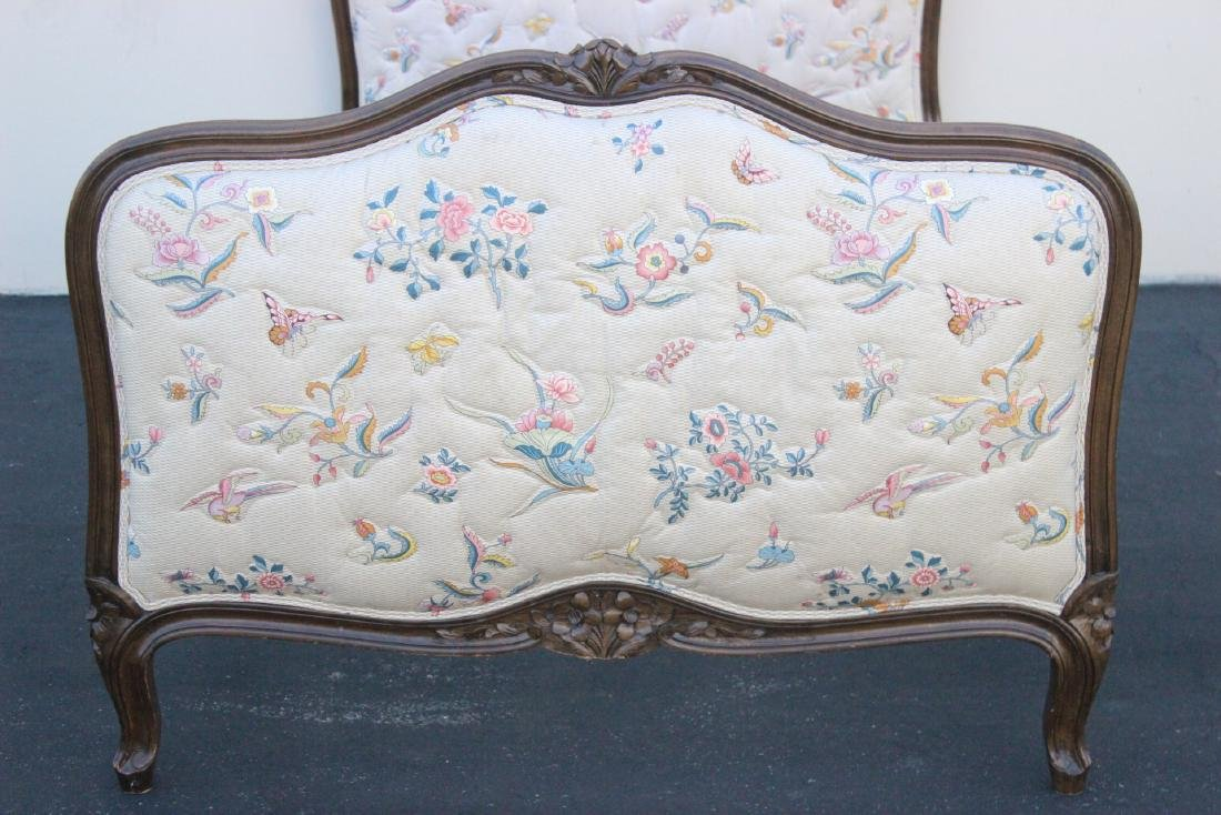 Antique French provincial walnut twin bed frame - 3