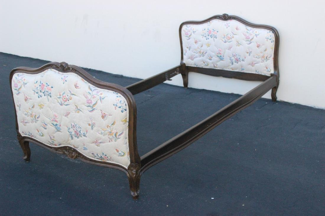 Antique French provincial walnut twin bed frame - 4