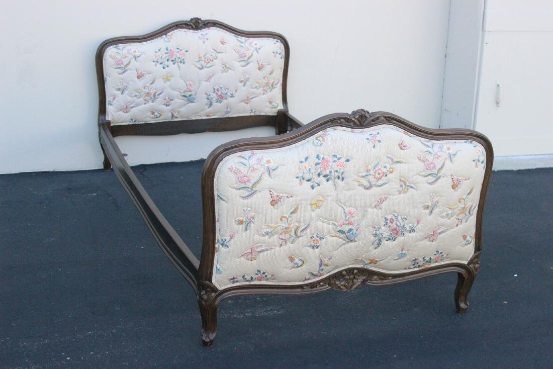 Antique French provincial walnut twin bed frame - 5