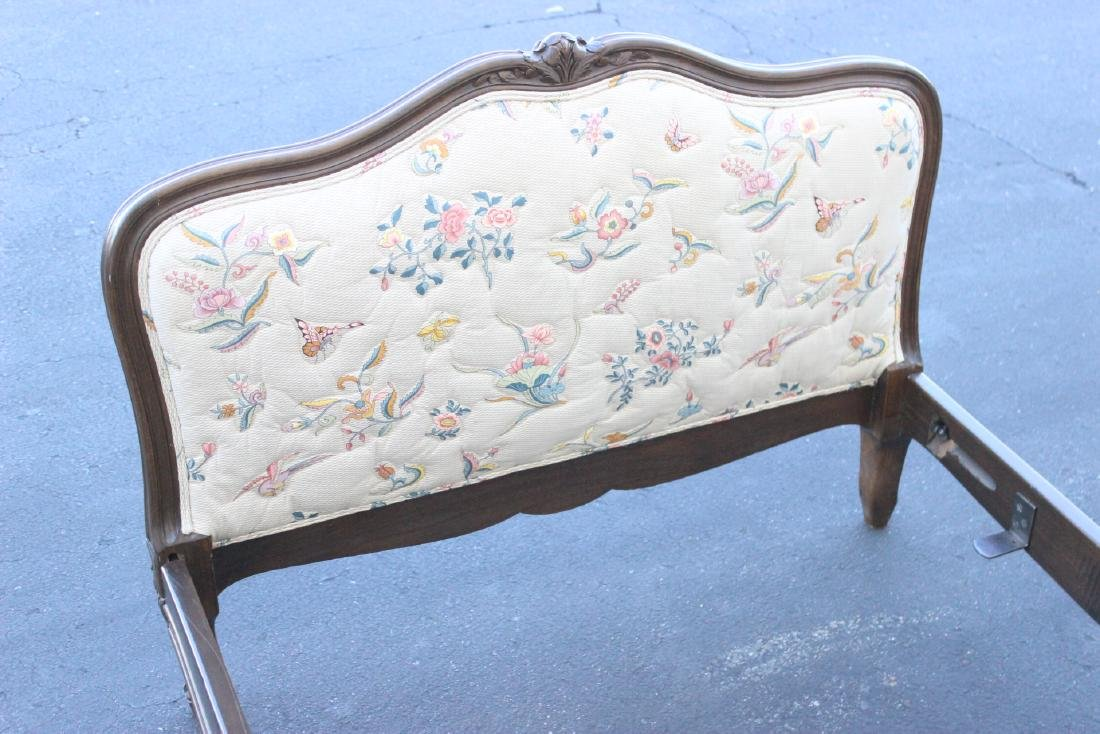 Antique French provincial walnut twin bed frame - 9