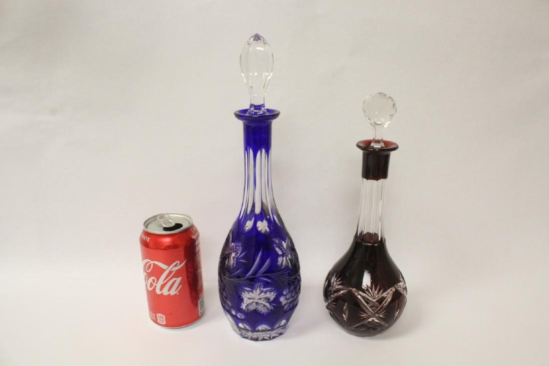 2 Bohemian crystal decanters
