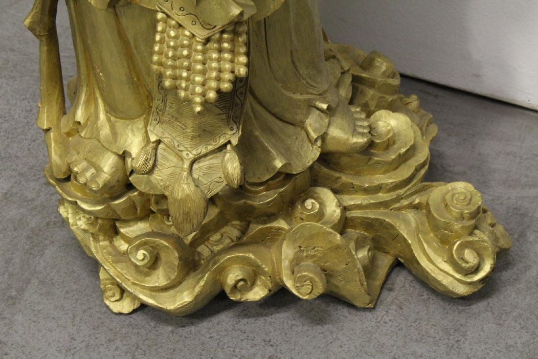 Life size Chinese gilt wood carved Guanyin - 10