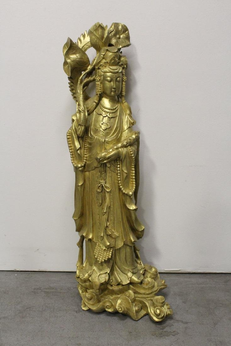 Life size Chinese gilt wood carved Guanyin