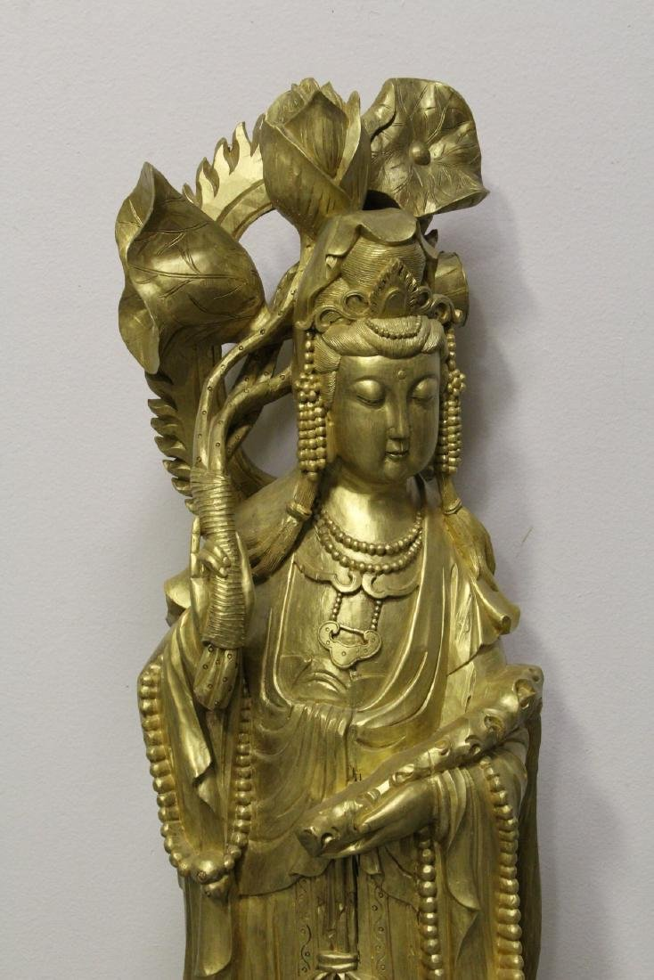 Life size Chinese gilt wood carved Guanyin - 2