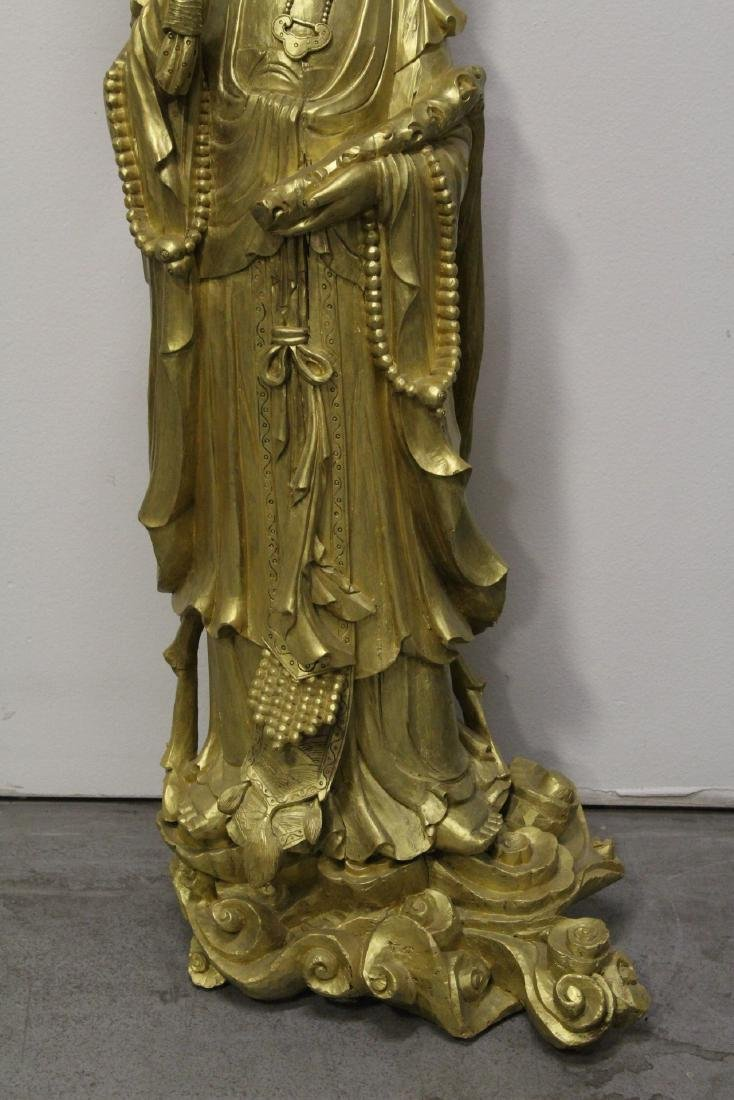 Life size Chinese gilt wood carved Guanyin - 3