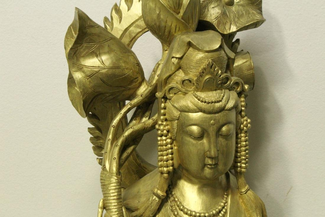 Life size Chinese gilt wood carved Guanyin - 4