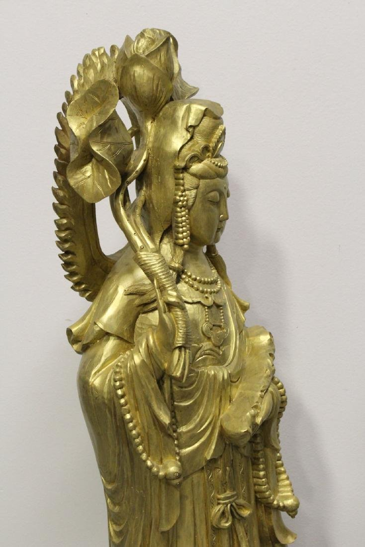 Life size Chinese gilt wood carved Guanyin - 9