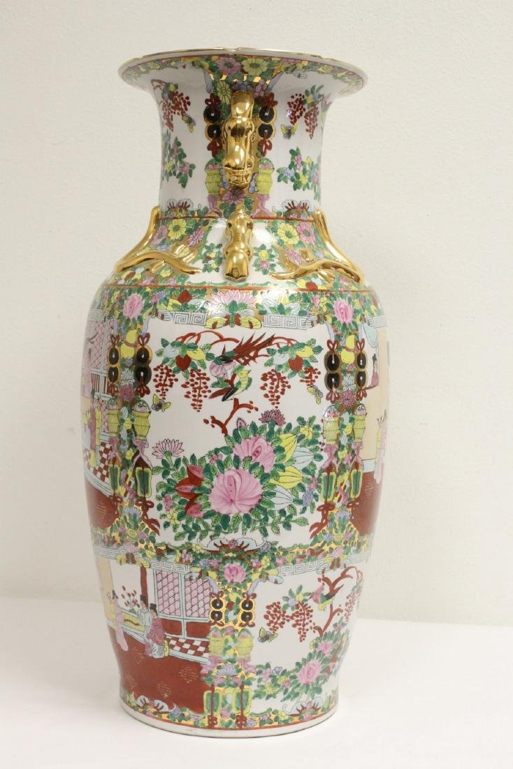 Chinese rose canton vase - 2