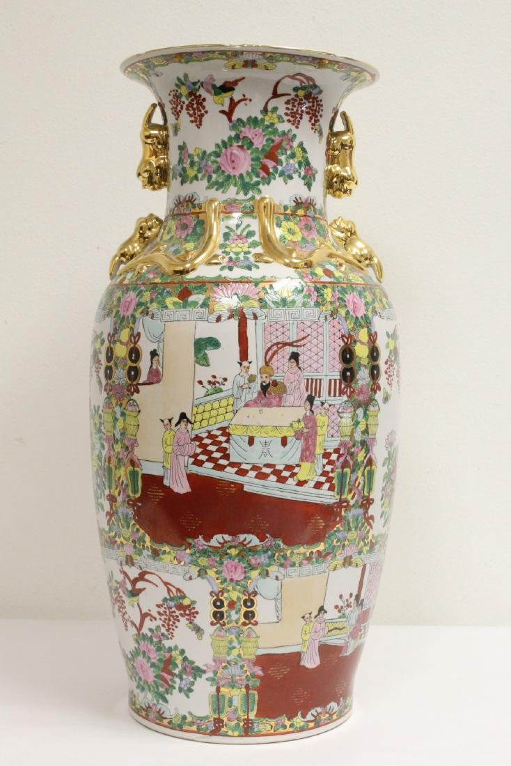 Chinese rose canton vase - 3