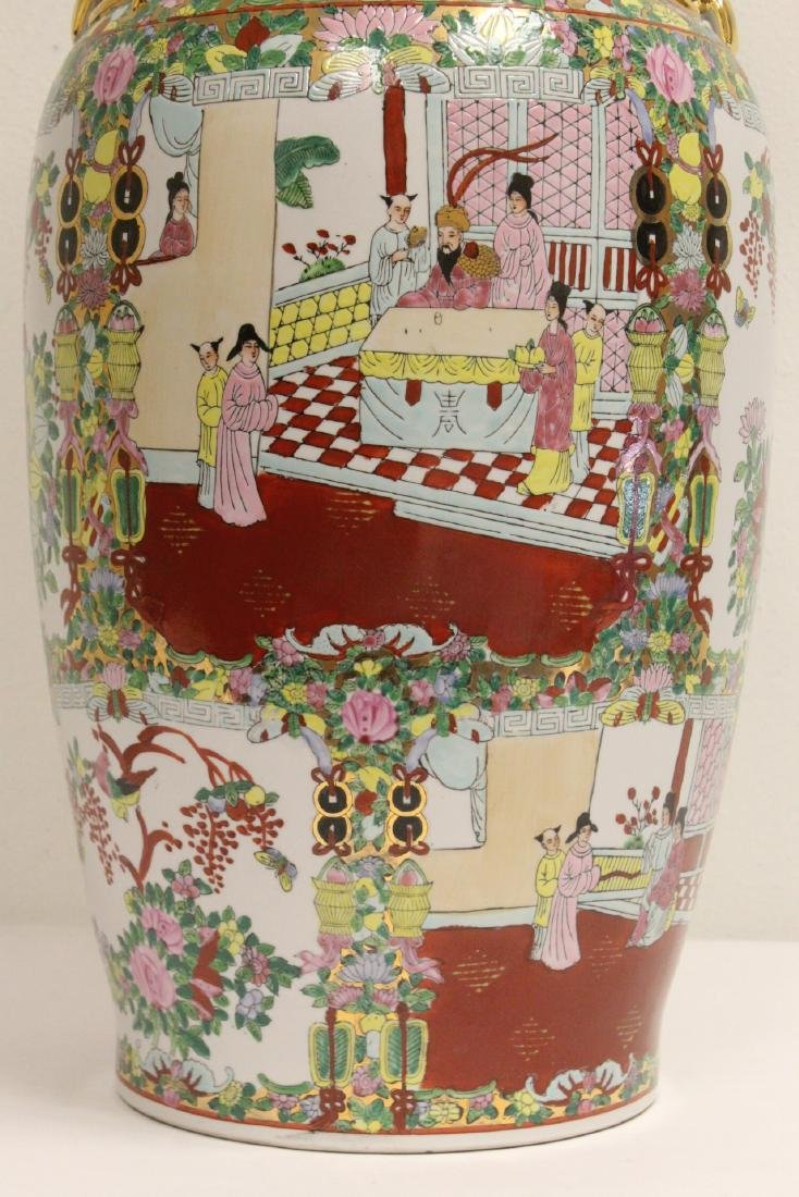 Chinese rose canton vase - 5
