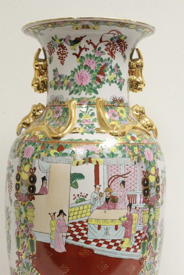 Chinese rose canton vase - 8