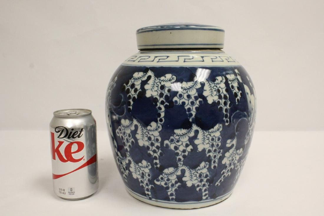 Vintage Chinese blue and white covered jar - 10