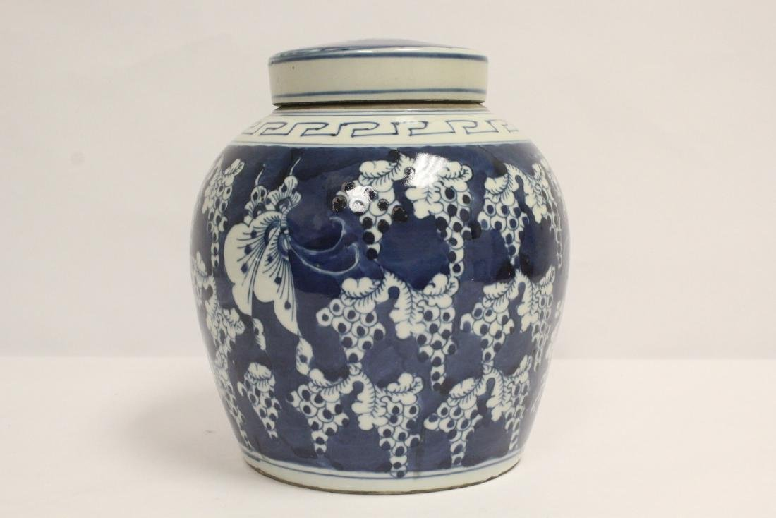 Vintage Chinese blue and white covered jar - 3