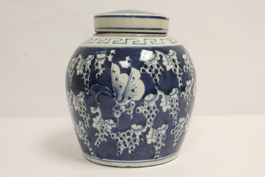 Vintage Chinese blue and white covered jar - 4