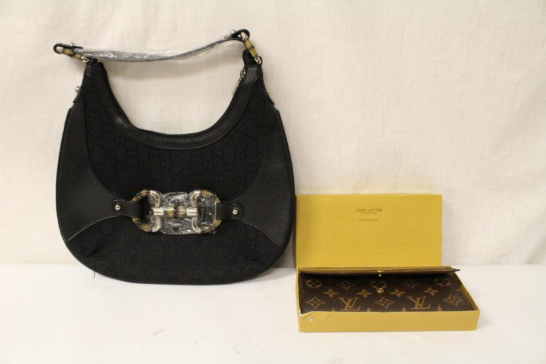 A Louis Vuitton style purse, and a Gucci style bag