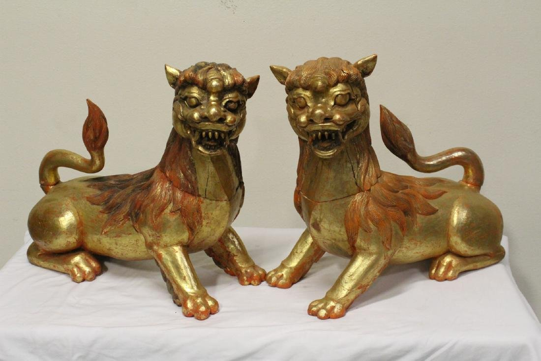 Pair gilt wood carved fulion - 10