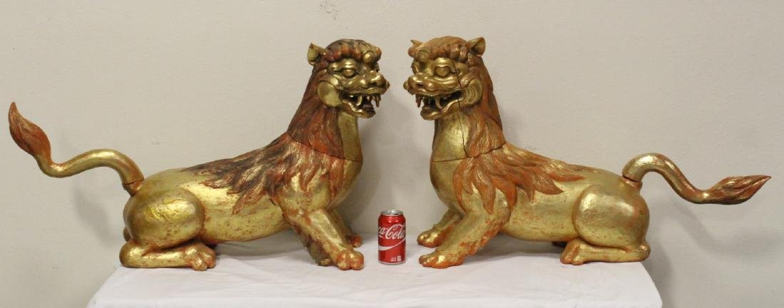 Pair gilt wood carved fulion