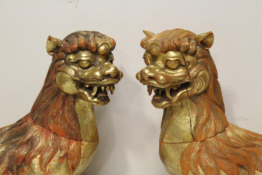 Pair gilt wood carved fulion - 2