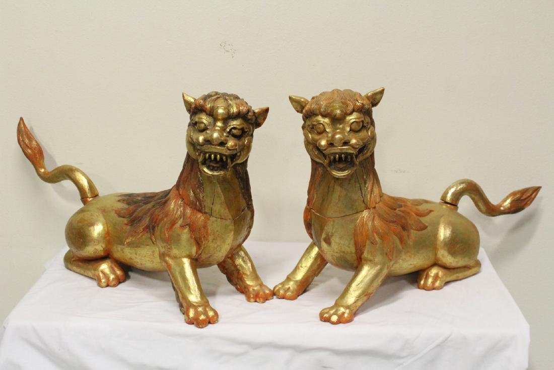 Pair gilt wood carved fulion - 3