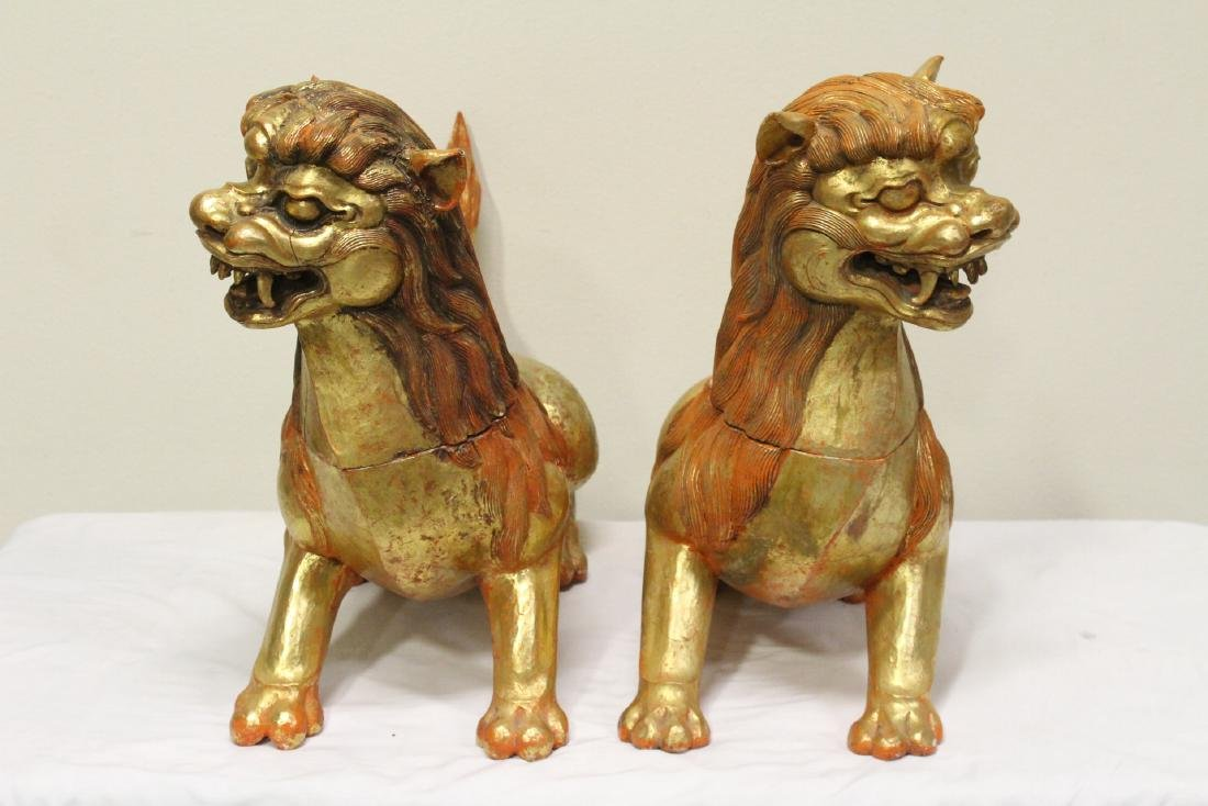 Pair gilt wood carved fulion - 5