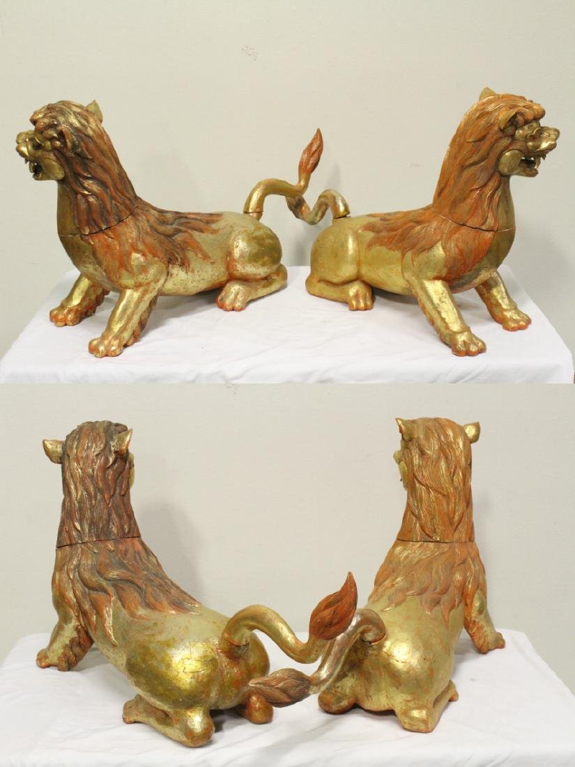 Pair gilt wood carved fulion - 6