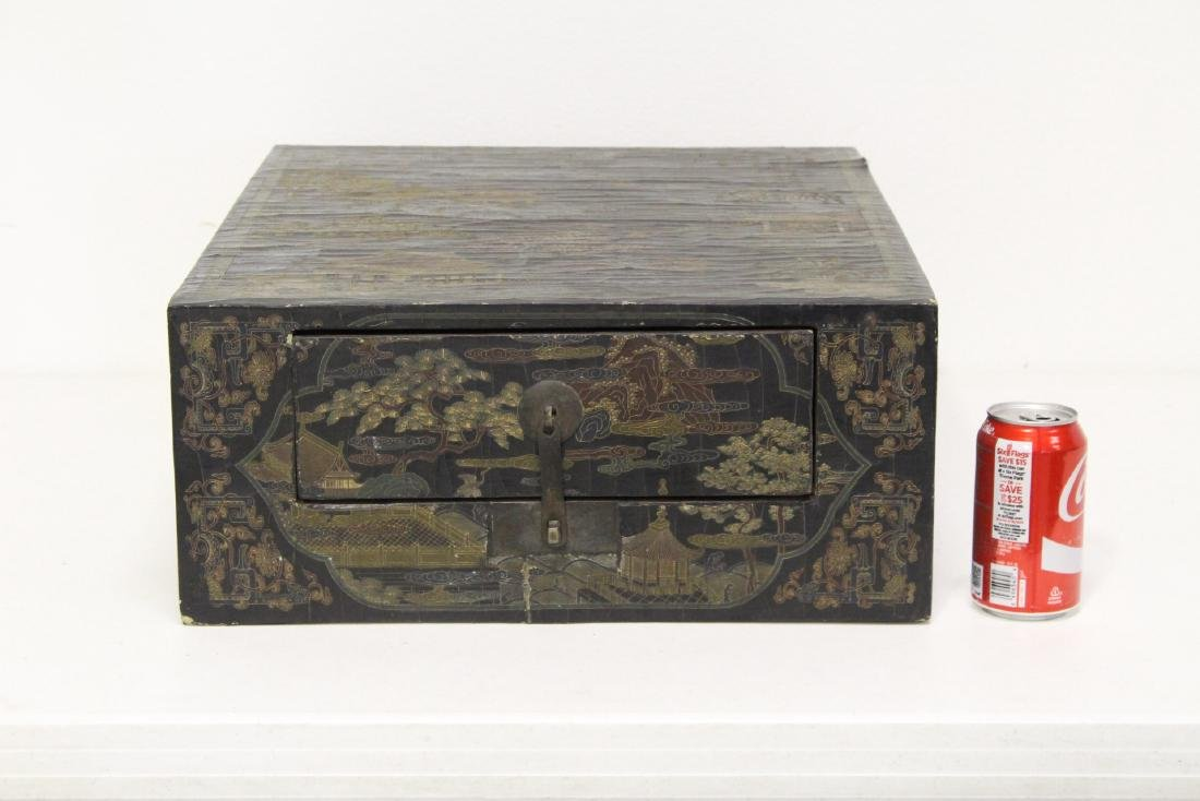A fine Chinese miniature lacquer cabinet