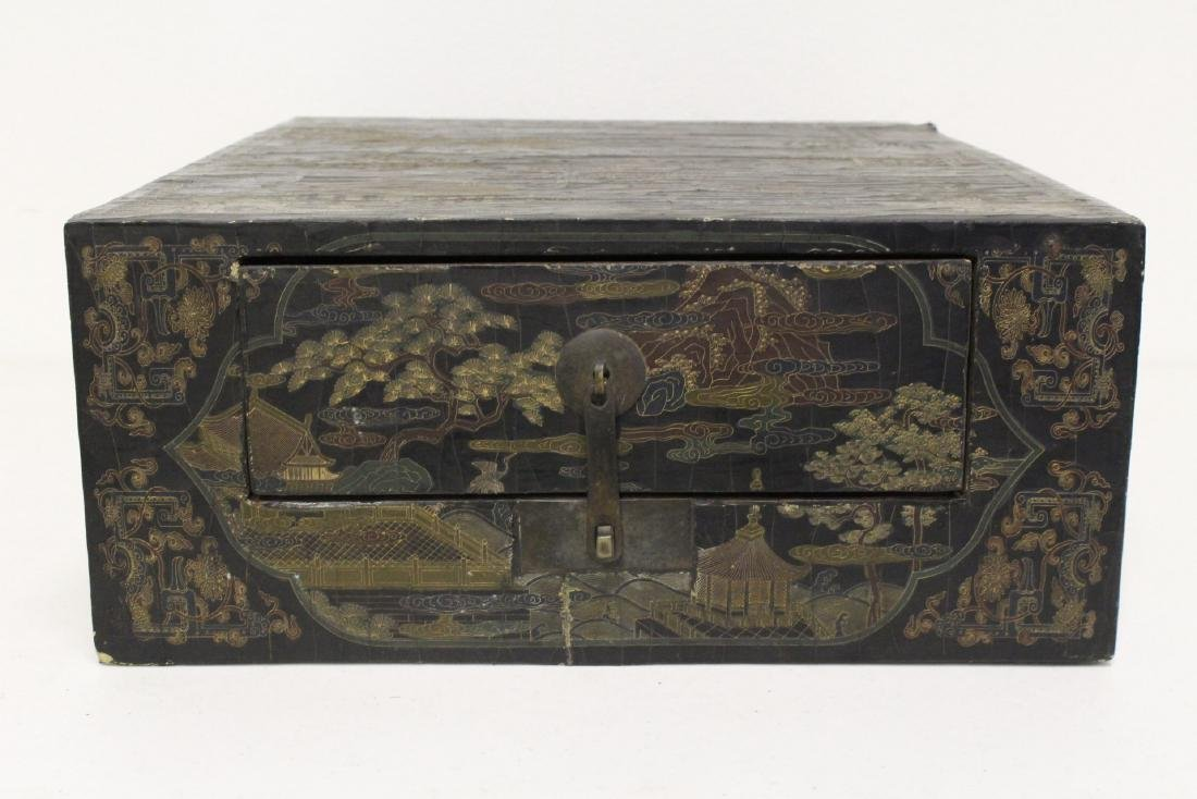 A fine Chinese miniature lacquer cabinet - 2