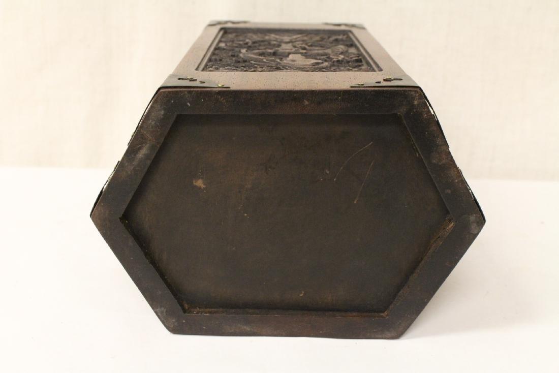 Chinese hexagonal wood carved brush holder - 10