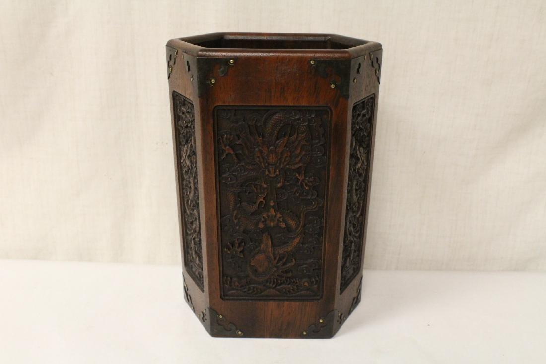 Chinese hexagonal wood carved brush holder