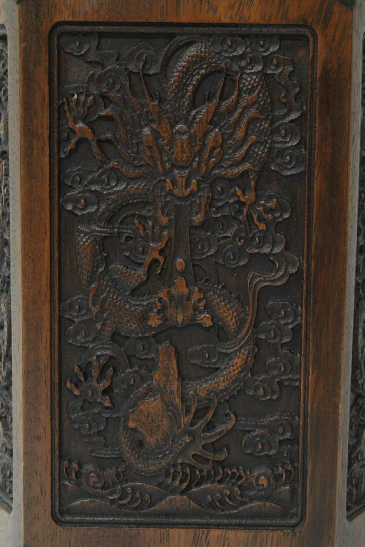Chinese hexagonal wood carved brush holder - 2