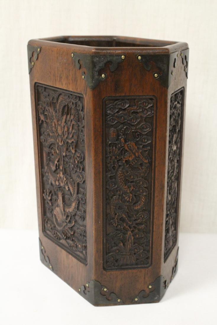 Chinese hexagonal wood carved brush holder - 3