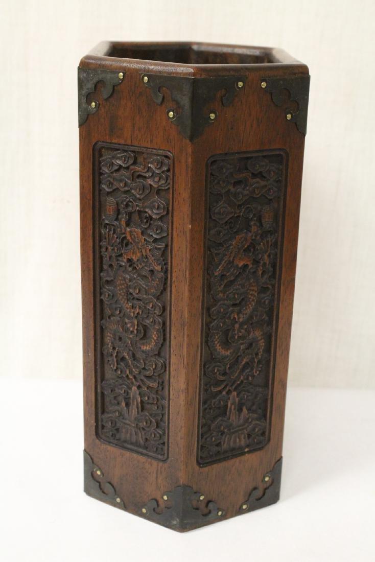Chinese hexagonal wood carved brush holder - 4