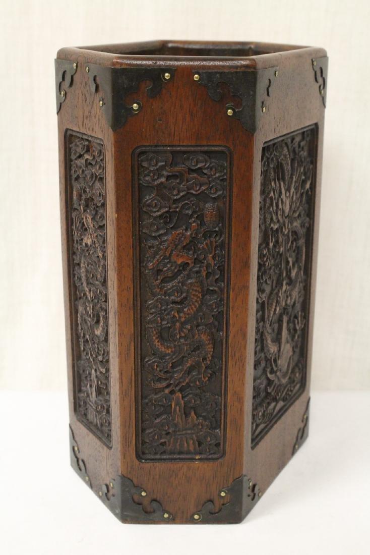 Chinese hexagonal wood carved brush holder - 5