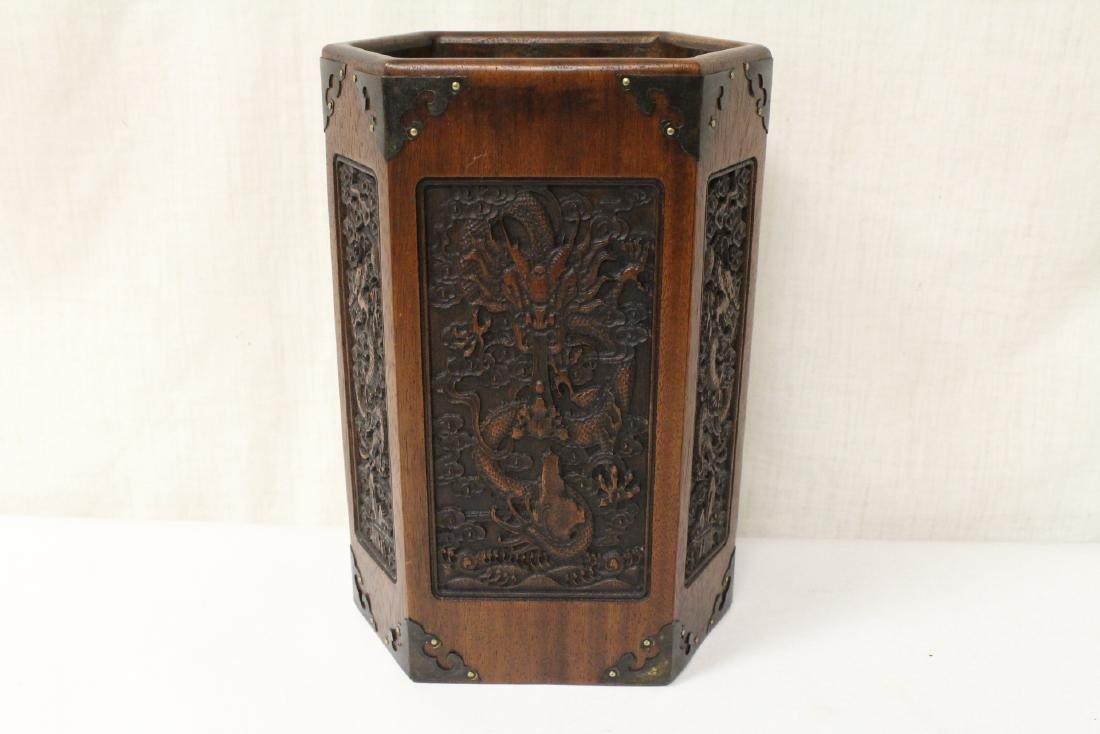 Chinese hexagonal wood carved brush holder - 6