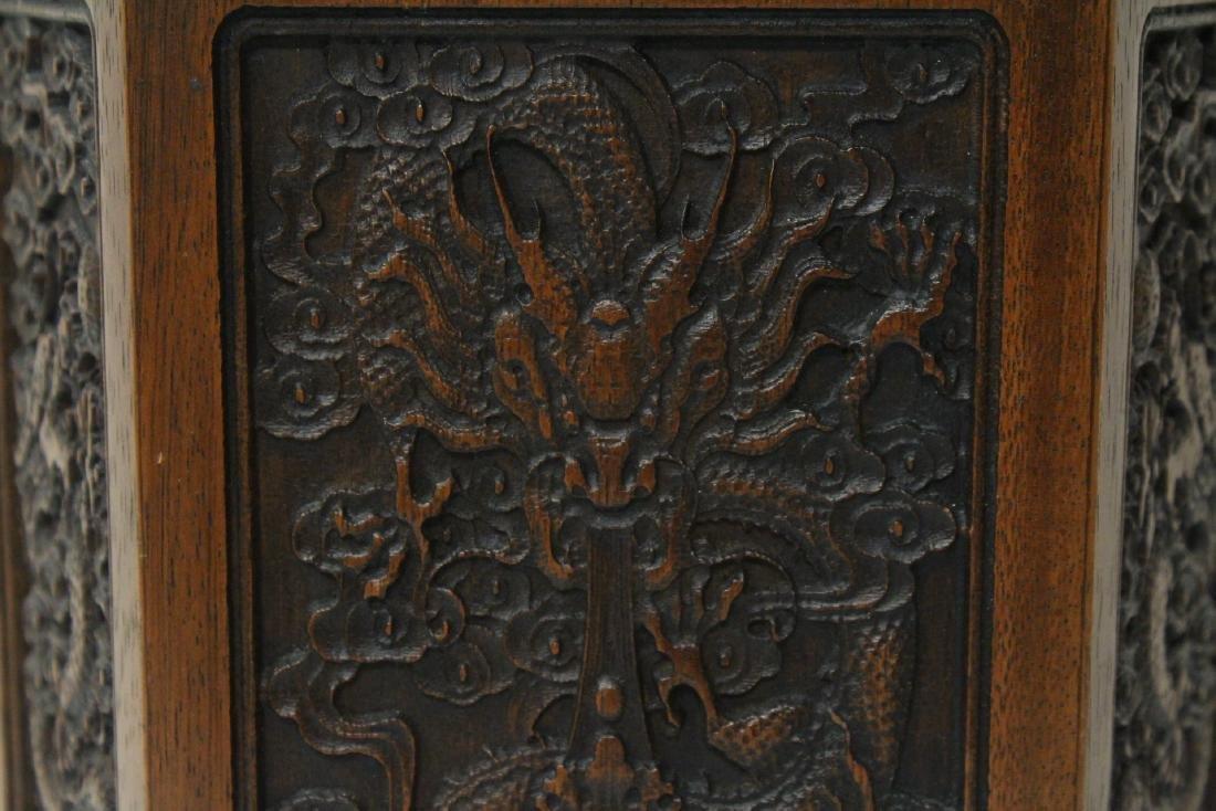 Chinese hexagonal wood carved brush holder - 7