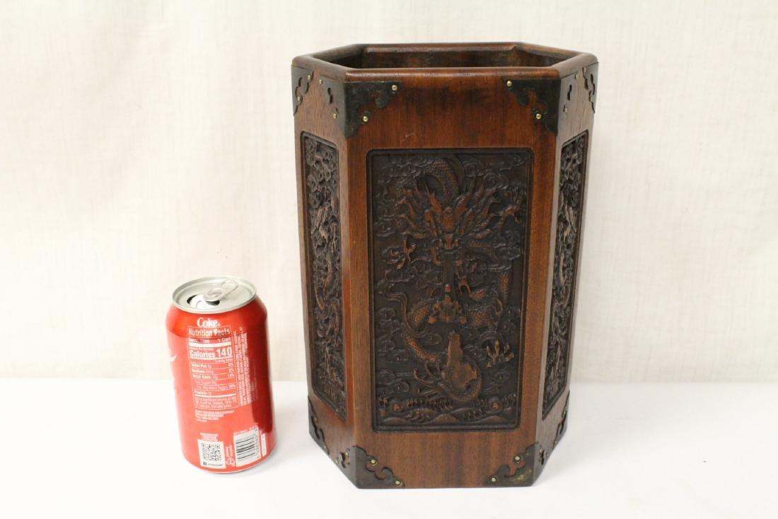 Chinese hexagonal wood carved brush holder - 9