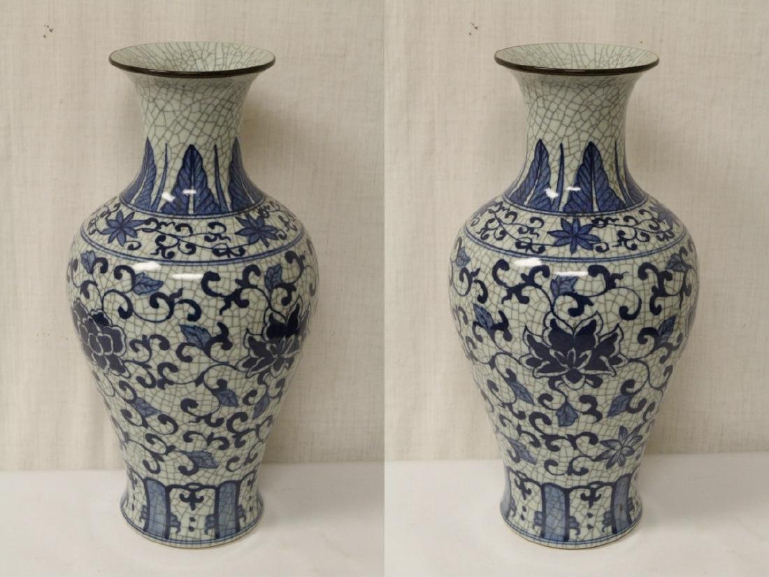 Chinese b&w crackle ware porcelain vase - 3