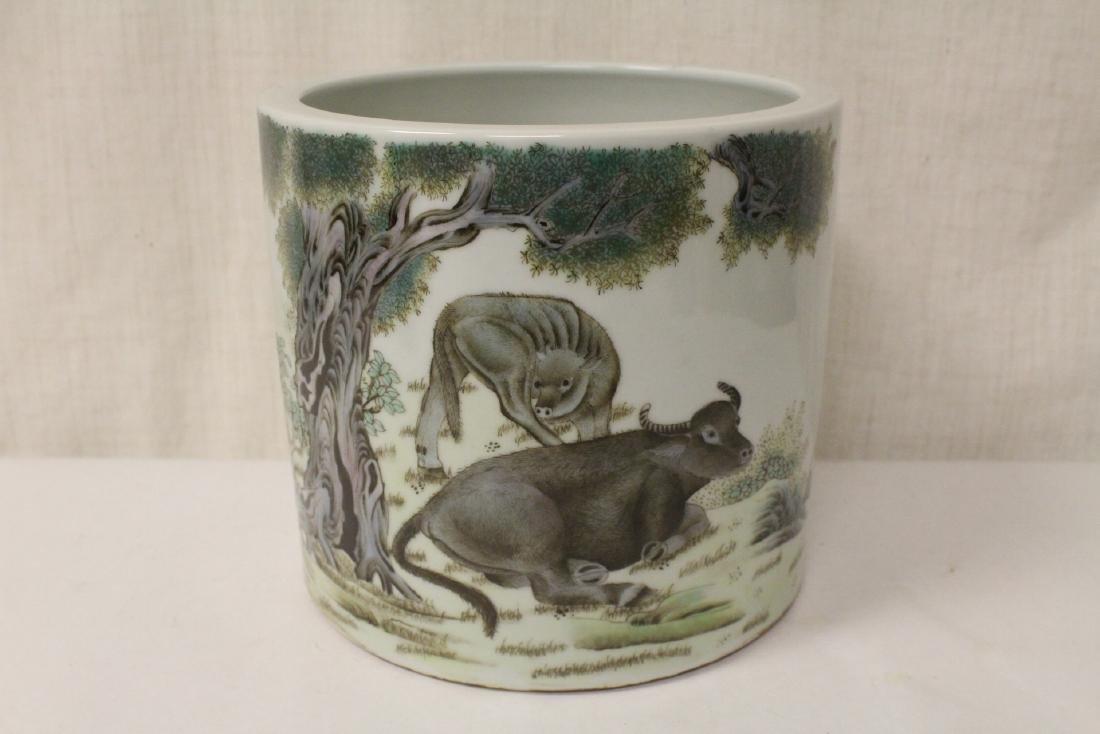 Chinese famille rose porcelain brush holder