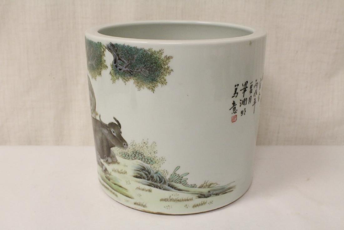 Chinese famille rose porcelain brush holder - 4