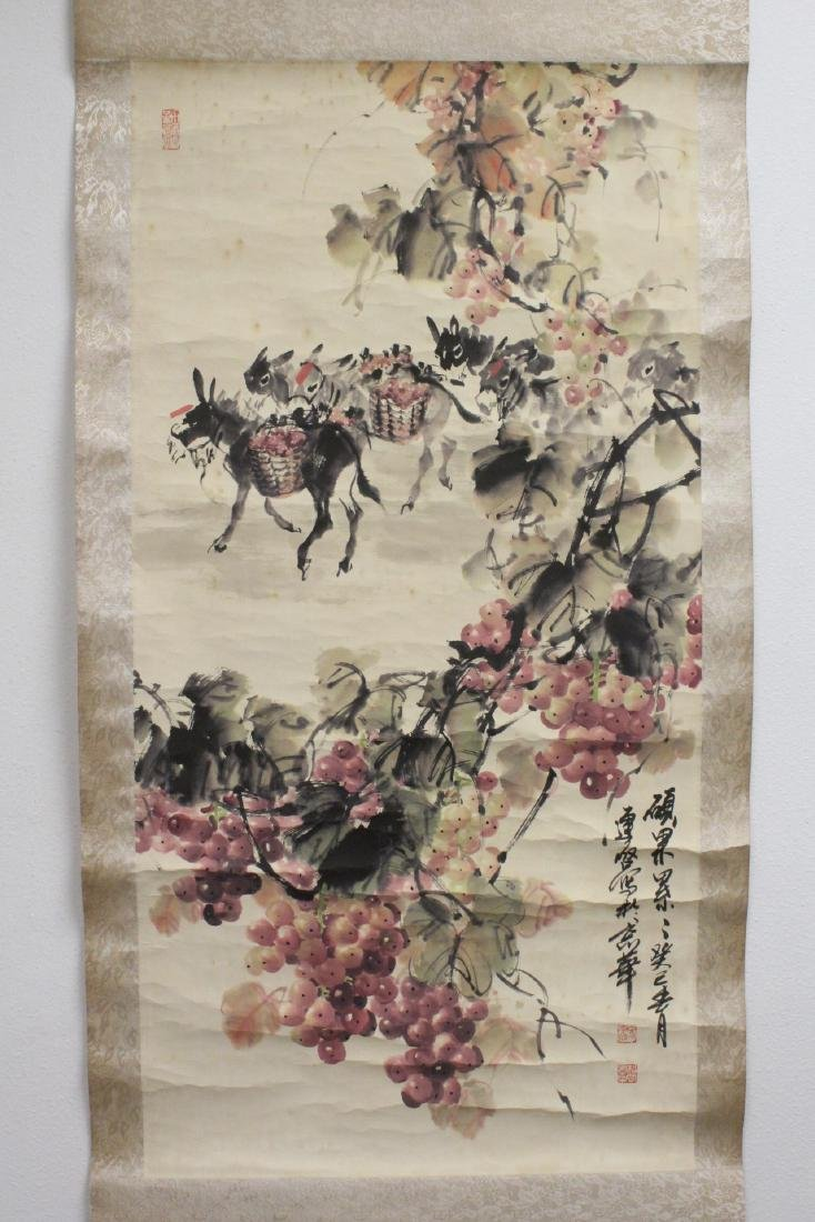 Chinese watercolor scroll signed Song Lian Qi