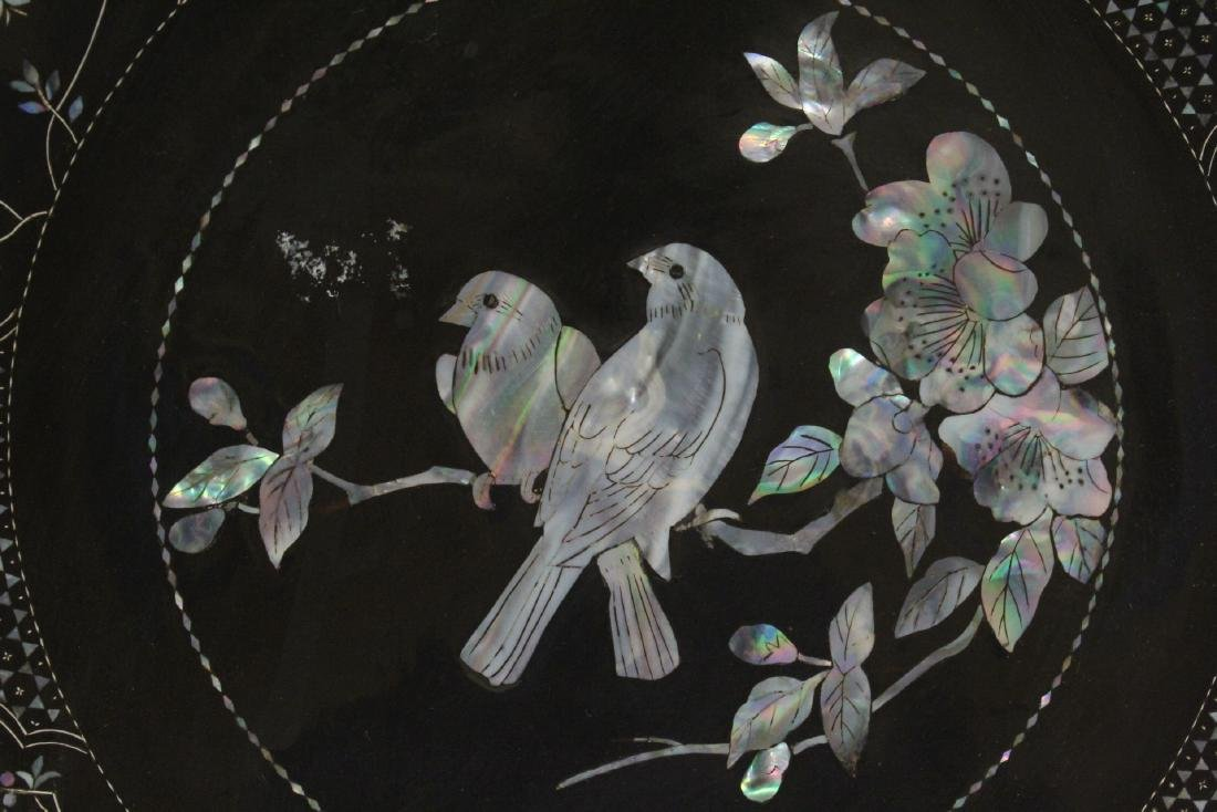 2 lacquer plates with mother of pearl inlaid - 10
